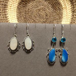 NWOT 2 Pair Sterling Gem & Stone Earring